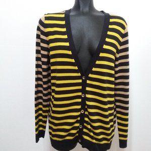 Michael Kors  yellow,tan, & black striped cardigan